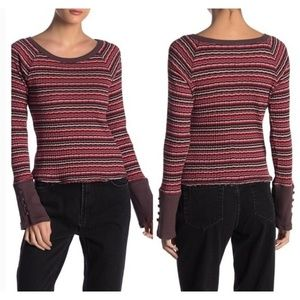 Free People Donna Long Sleeve Striped Tee